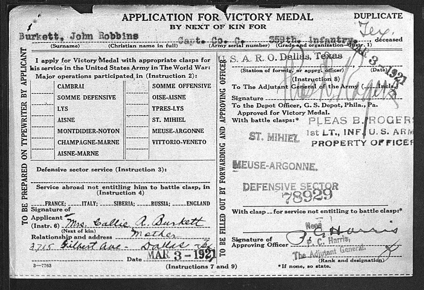 Captain John R. Burkett Service Record Page 2